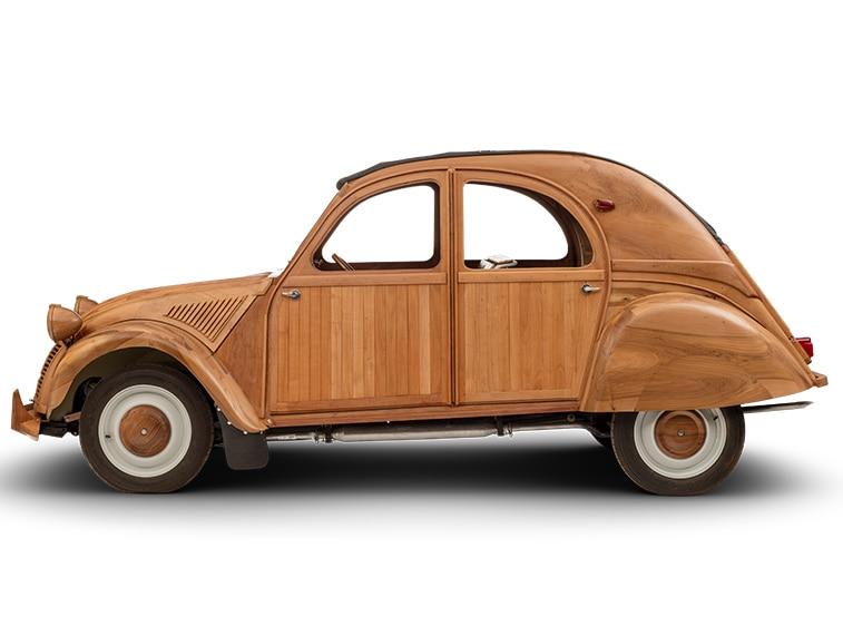 2cv en bois-detail